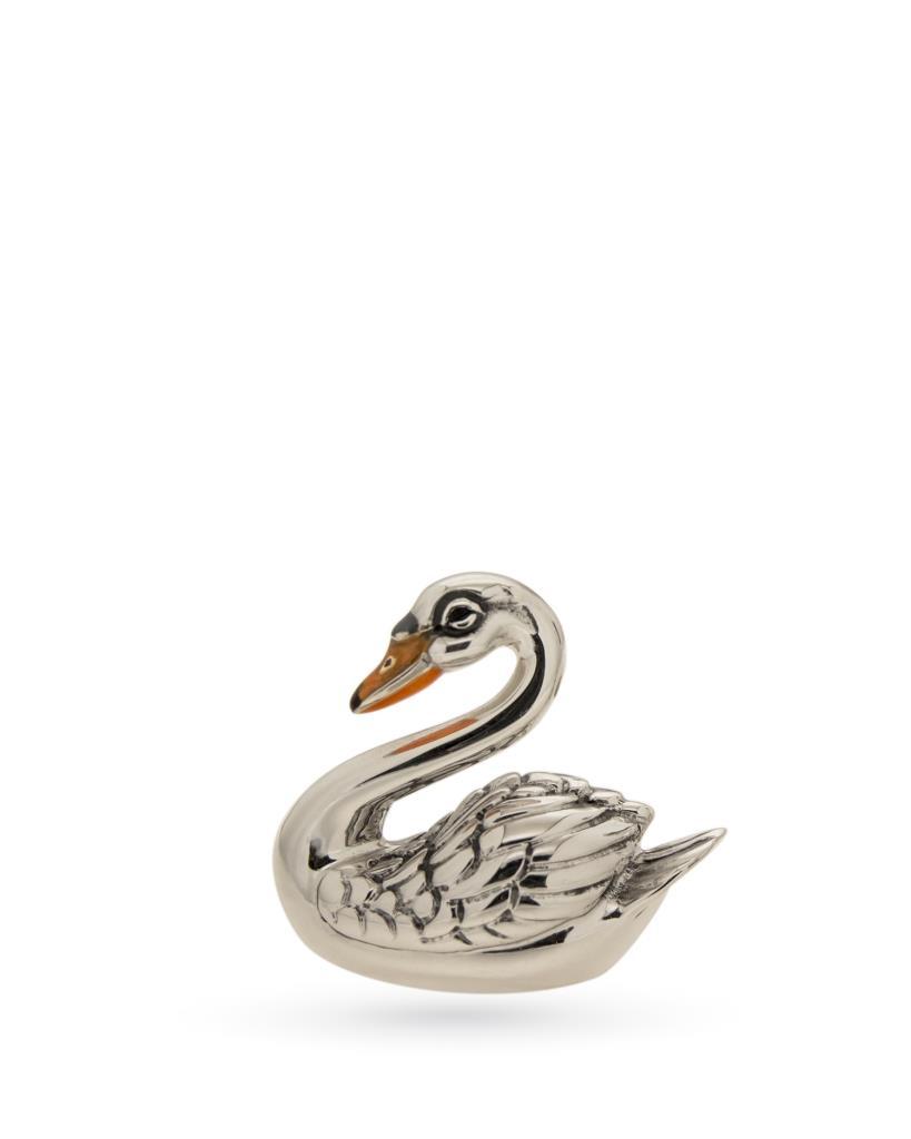 Cigno piccolo soprammobile in argento e smalto - SATURNO