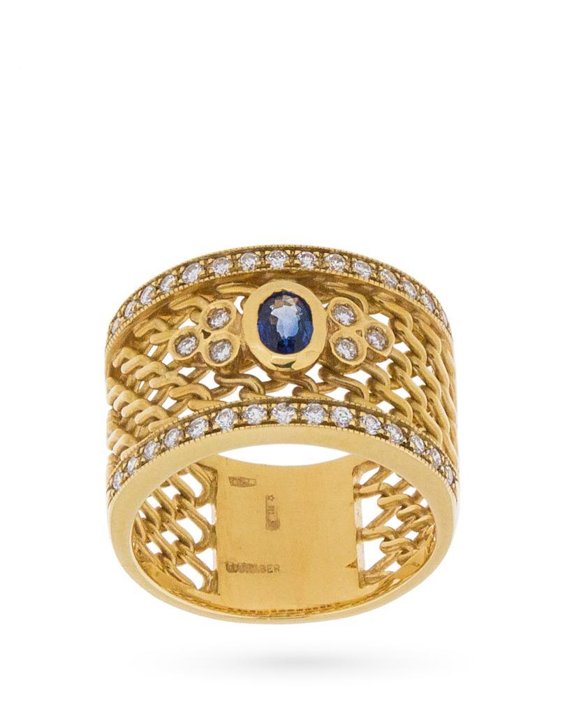 Anello a fascia con rete in oro giallo e diamanti e zaffiro centrale - UNBRANDED
