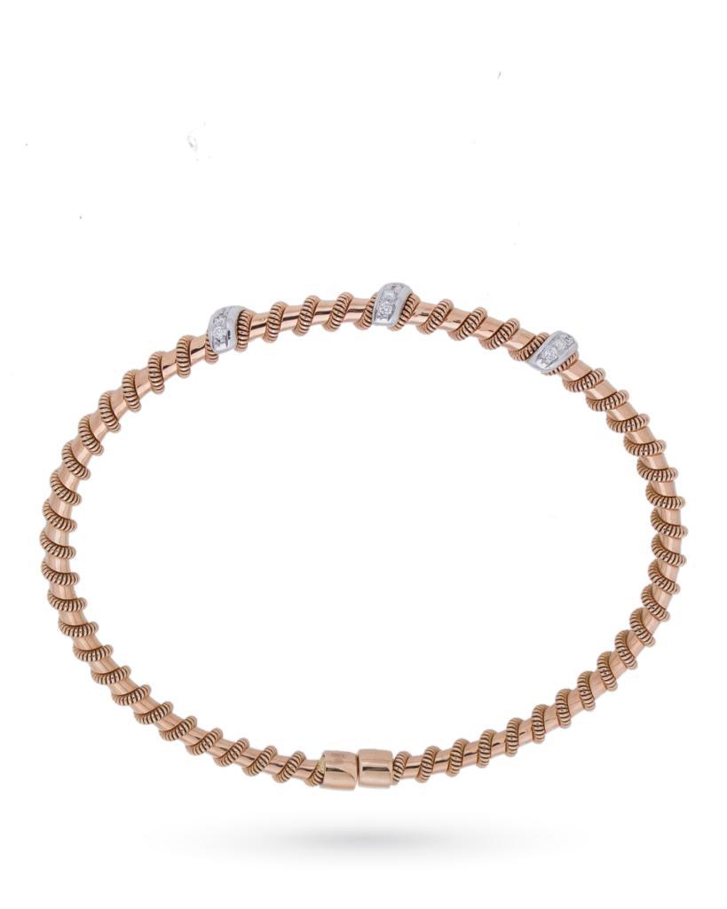 Bracciale rigido aperto in oro rosa con inserti di diamanti 0,16ct G VS - ORO TREND
