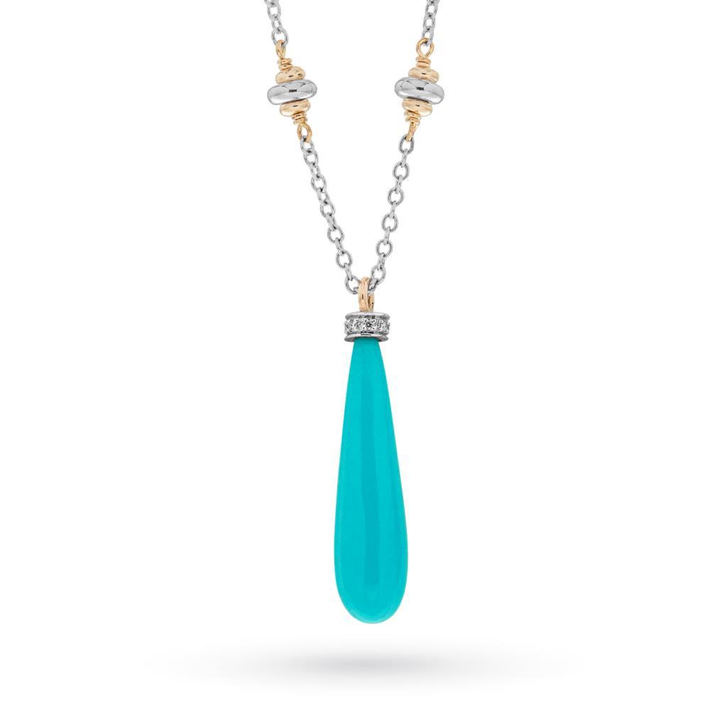 Collana con pendente turchese e brillanti in oro 18kt - CICALA