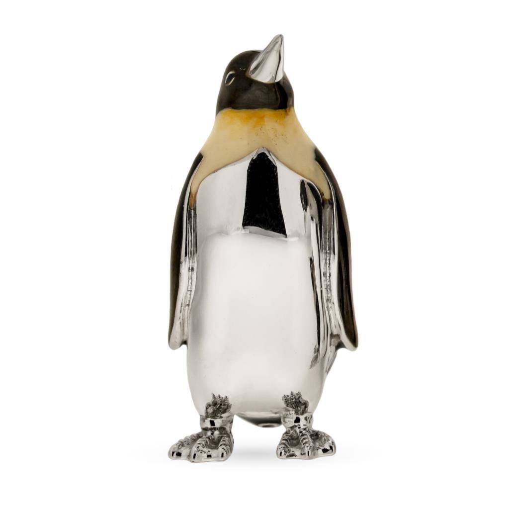 Pinguino grande soprammobile in argento e smalto - SATURNO