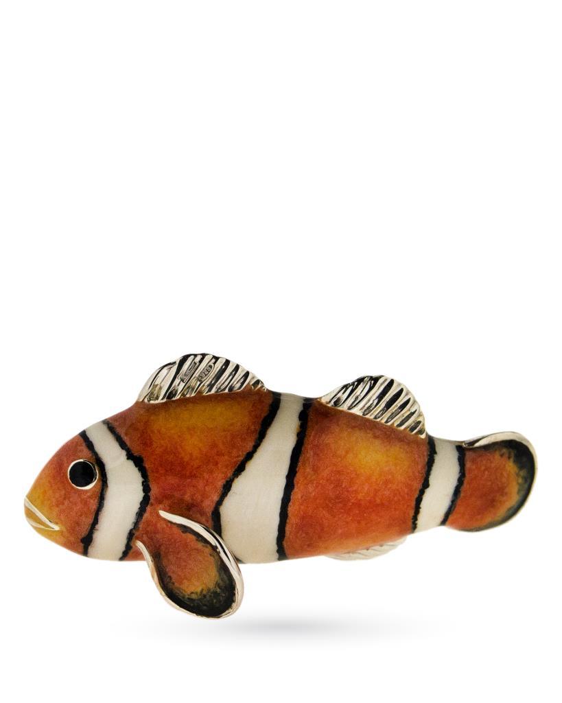 Pesce pagliaccio grande soprammobile in argento e smalto - SATURNO