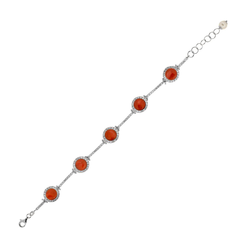 925 sterling silver bracelet with coral and zirconia  - CICALA