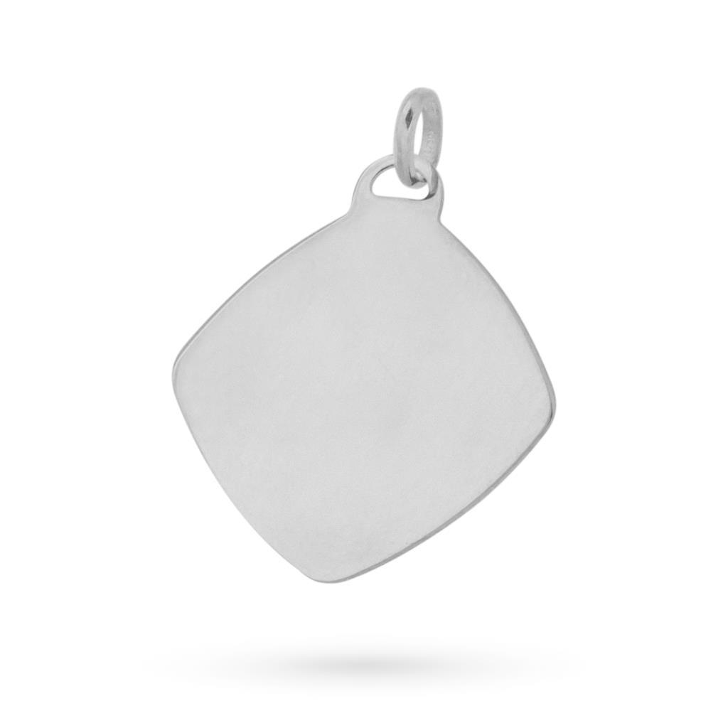 Ciondolo piastrina quadrata in oro bianco 18kt - CICALA
