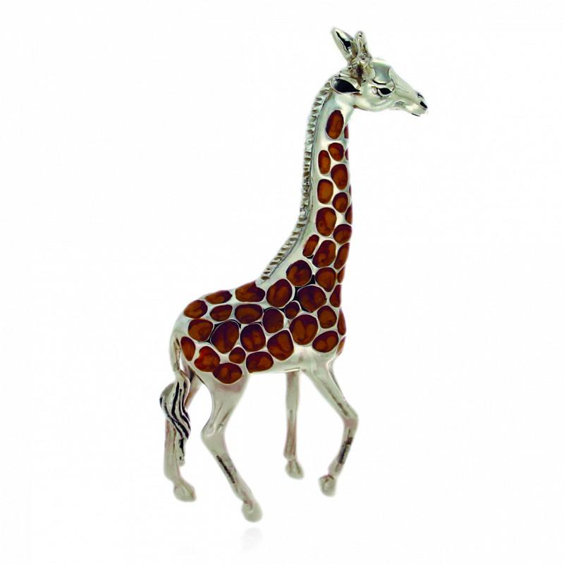 Giraffa media soprammobile in argento e smalto - SATURNO