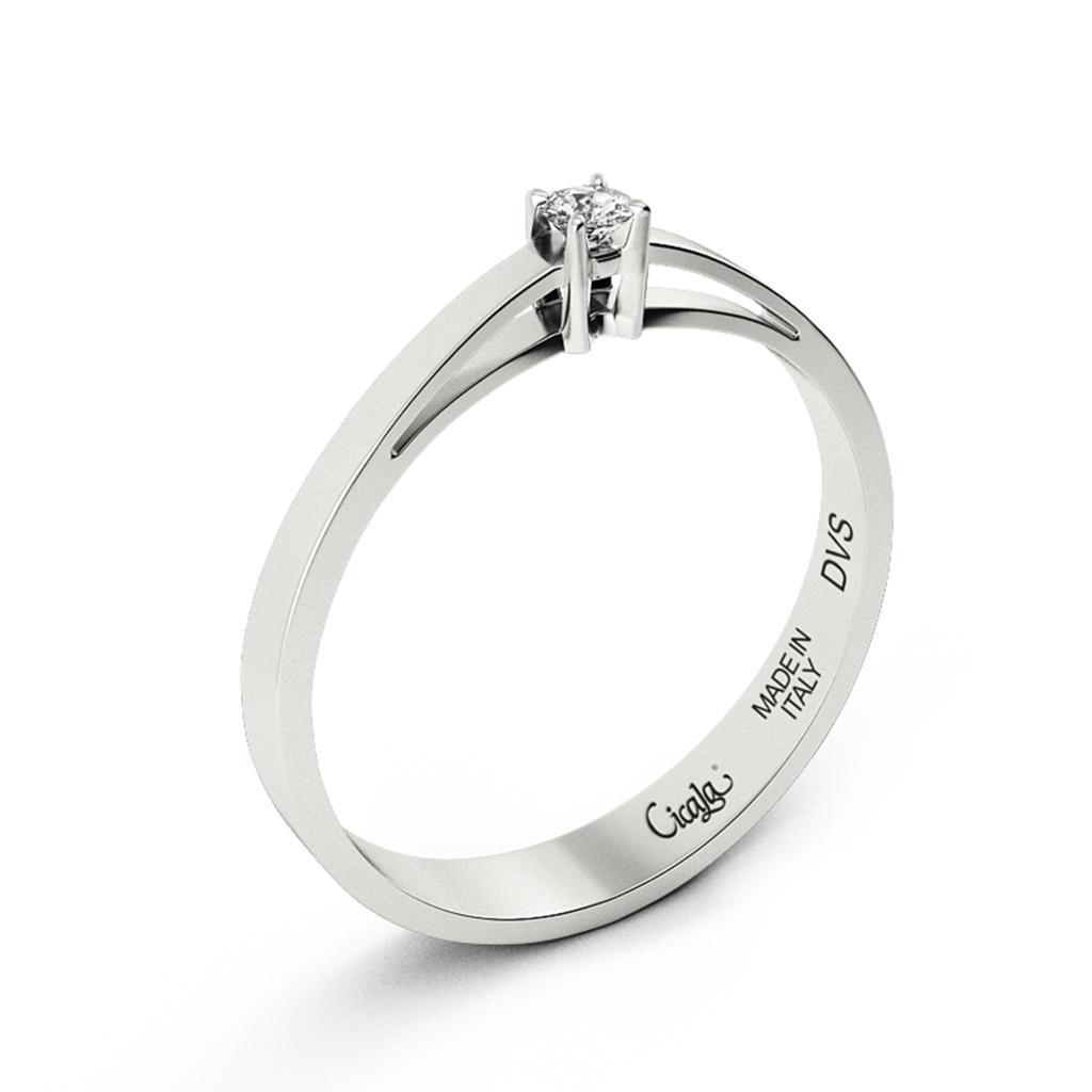 Anello di fidanzamento D Color con diamante 0,20ct D VS - CICALA