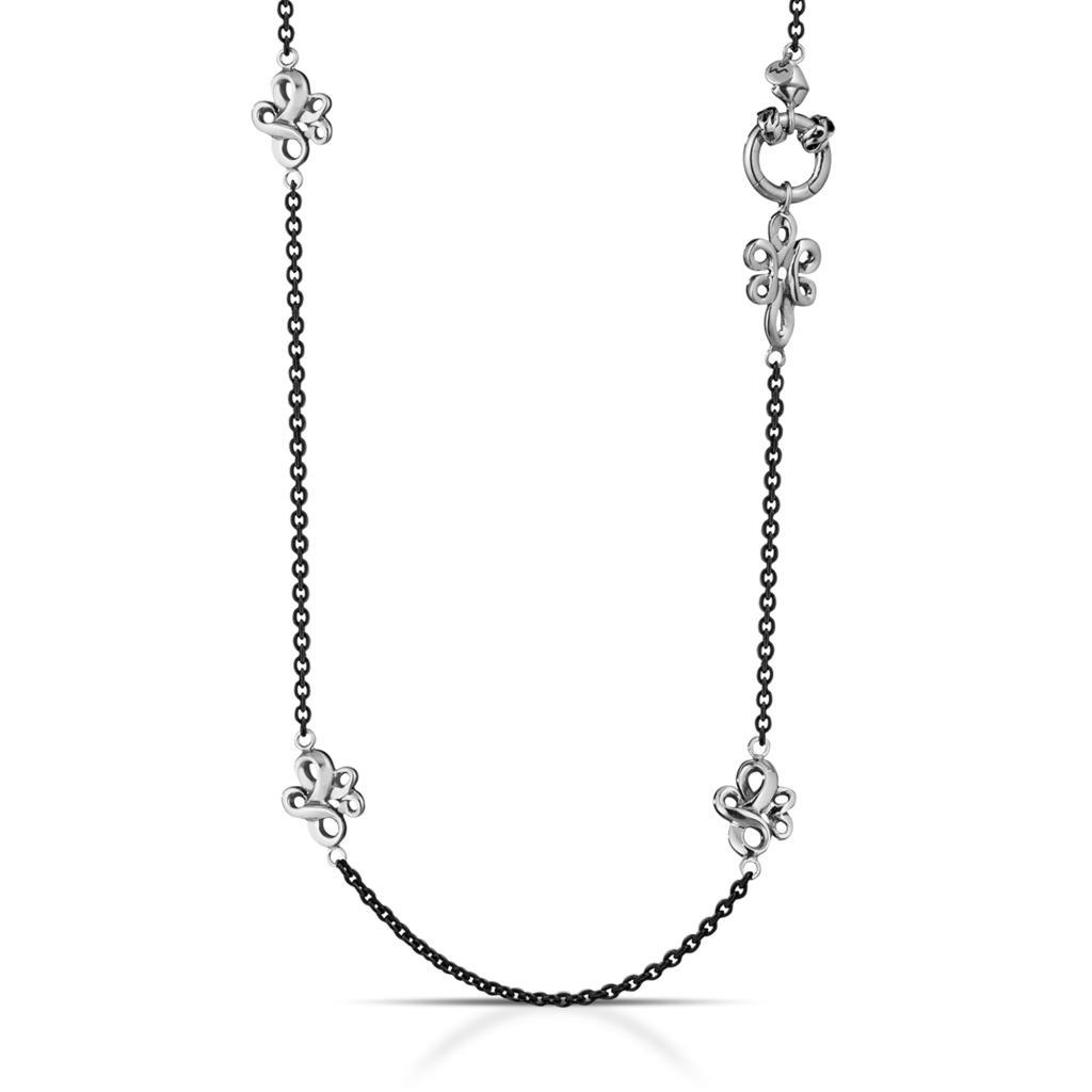 Collana lunga 90cm brunita con decori in argento 925 - MARESCA OFFICINE ORAFE