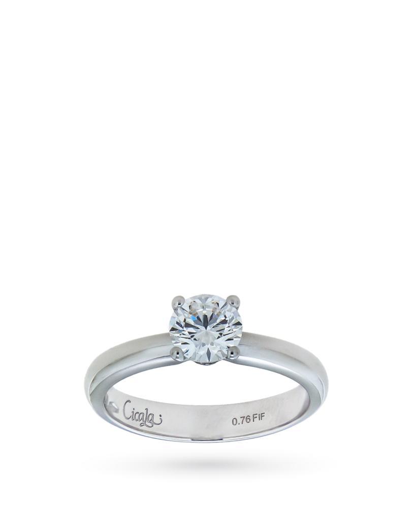 Anello solitario con diamante ct 0,76 F F - CICALA