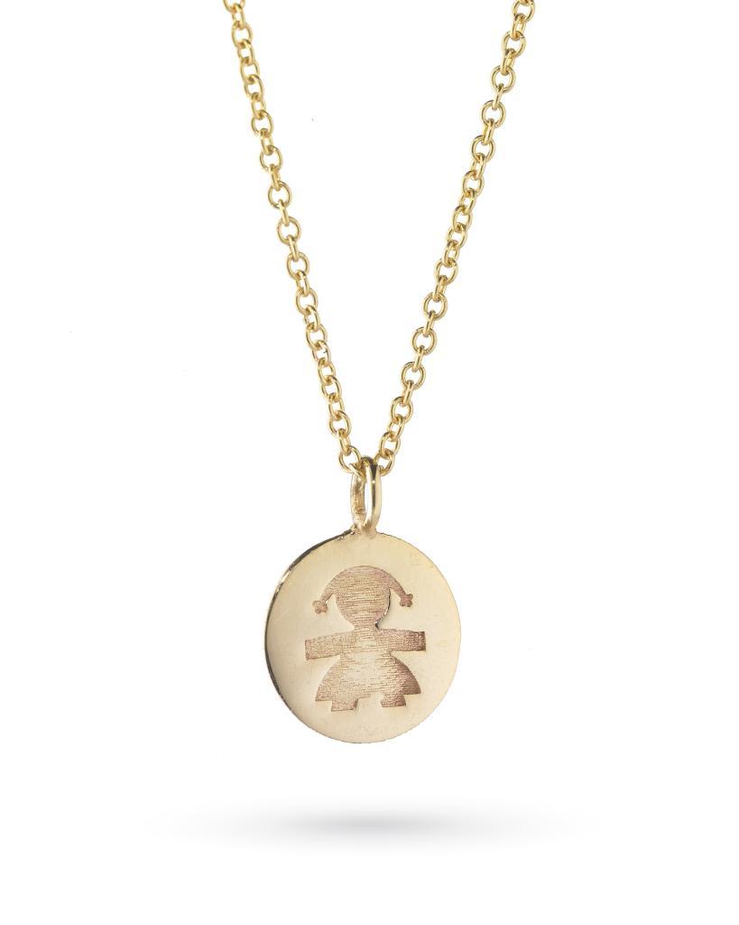 Collana leBebe LBB142  in oro giallo con pepita femminuccia incisa - LE BEBE
