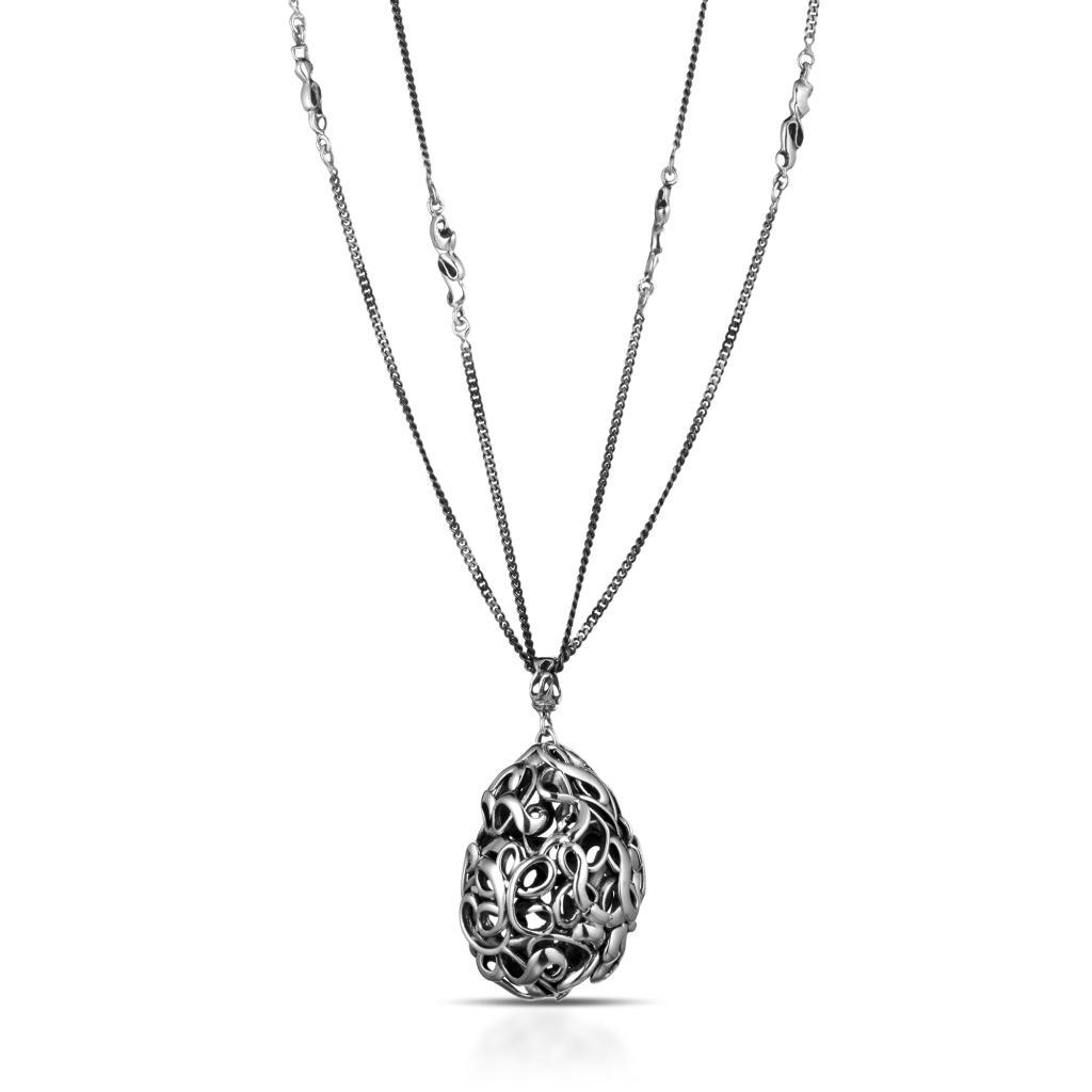Collana lunga 1 metro in argento 925 con ciondolo ovale intrecciato - MARESCA OFFICINE ORAFE