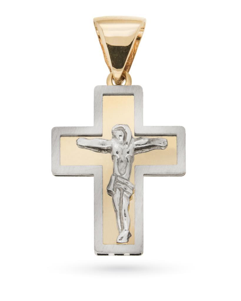 Croce con Cristo crocifisso in oro giallo e oro bianco 18kt - UNBRANDED