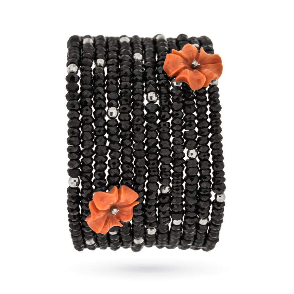 Bracciale con tormalina e fiori in corallo con diamanti - ASCIONE