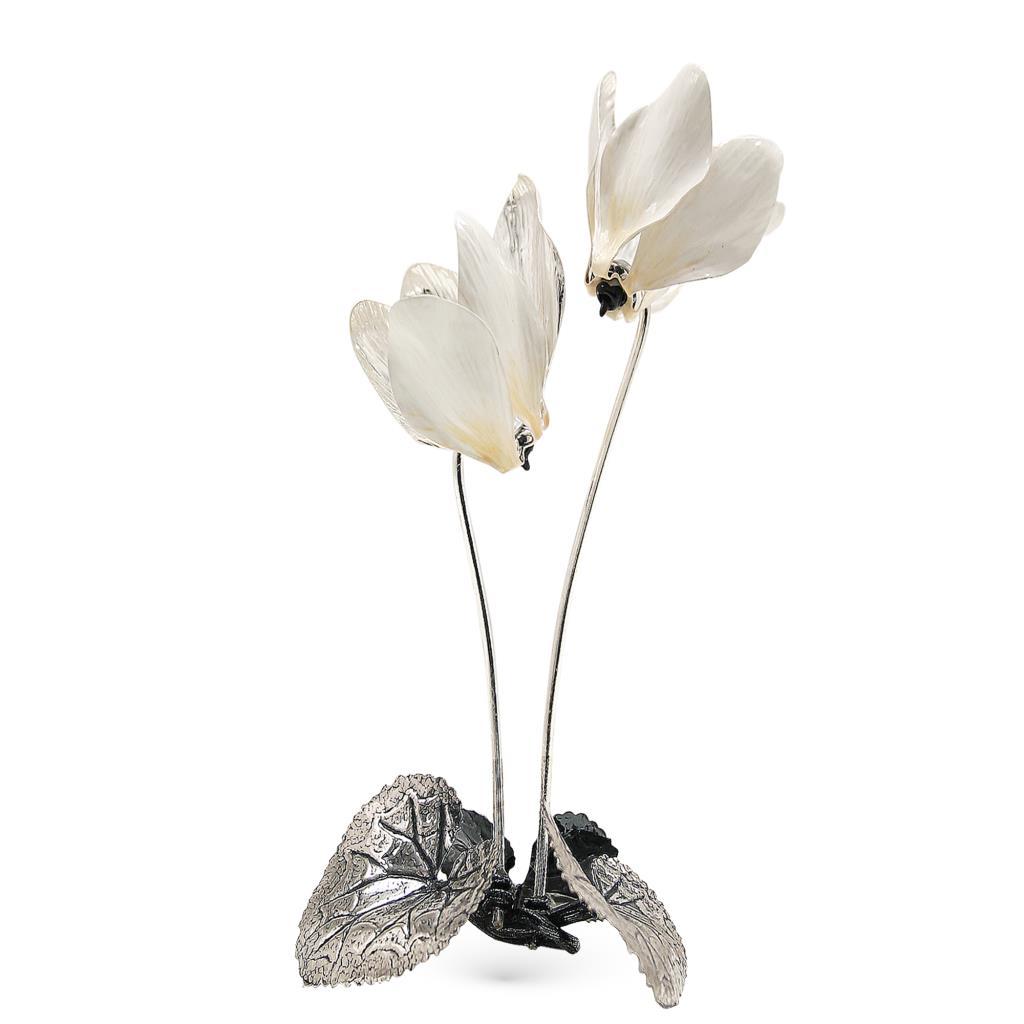 Ciclamini bianchi soprammobile in argento e smalto 28cm - GI.RO'ART