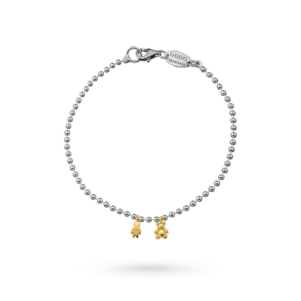Bracciale pallini piccoli Dodo Mariani in argento con ciondoli  in oro 9kt - DODO MARIANI