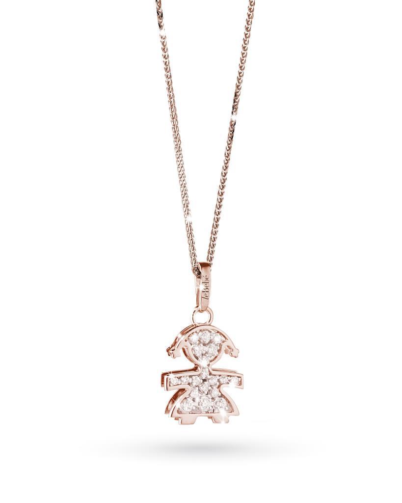 Ciondolo leBebe LBB020 bimba in oro rosa con diamanti - LE BEBE