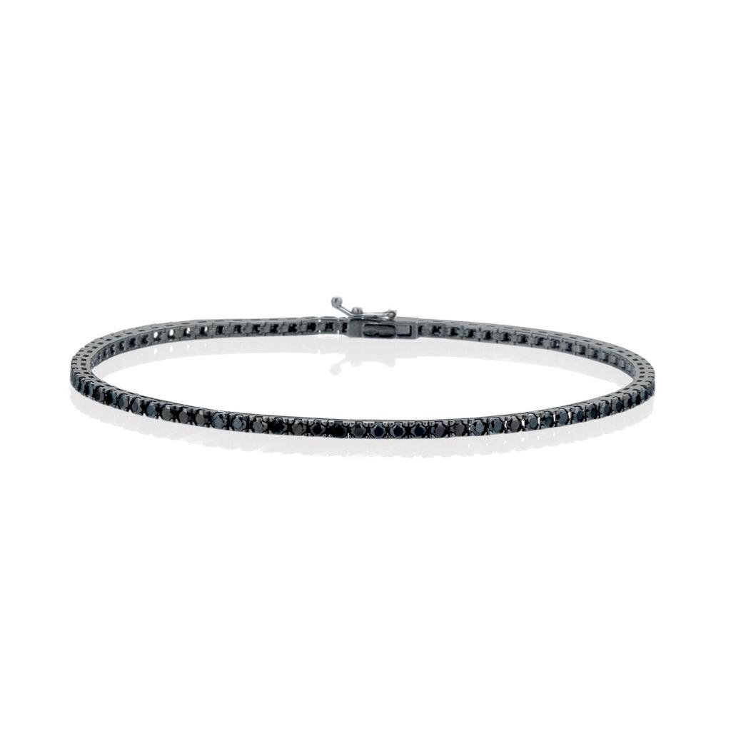 Bracciale tennis in oro bianco rodiato nero diamanti neri - LELUNE DIAMONDS