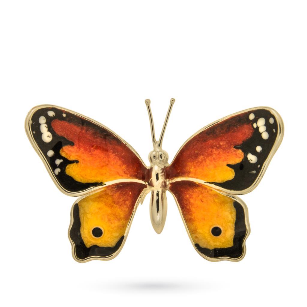 Farfalla media soprammobile in argento e smalto - SATURNO
