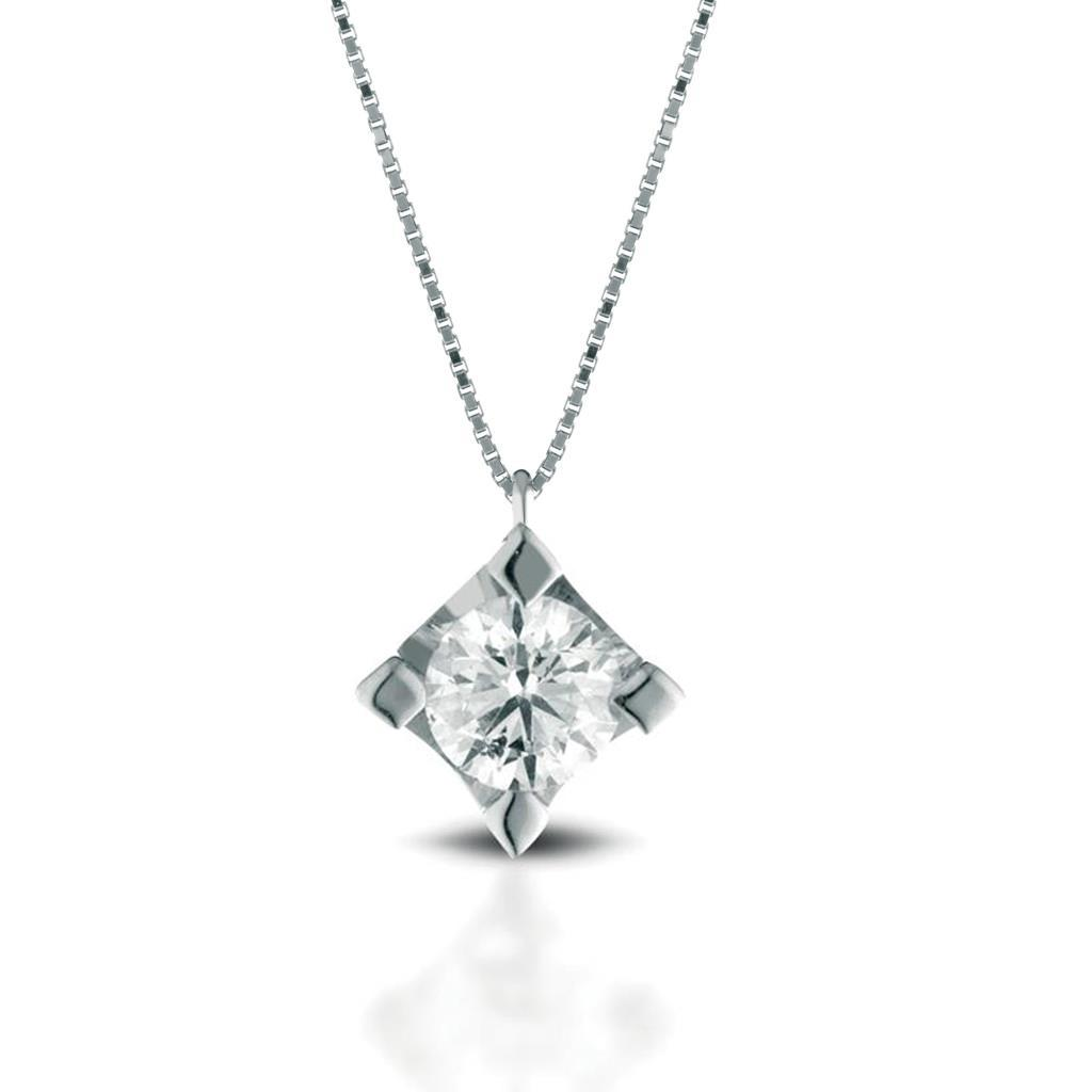 Solitaire necklace gold with diamond 0,50ct - LELUNE DIAMONDS
