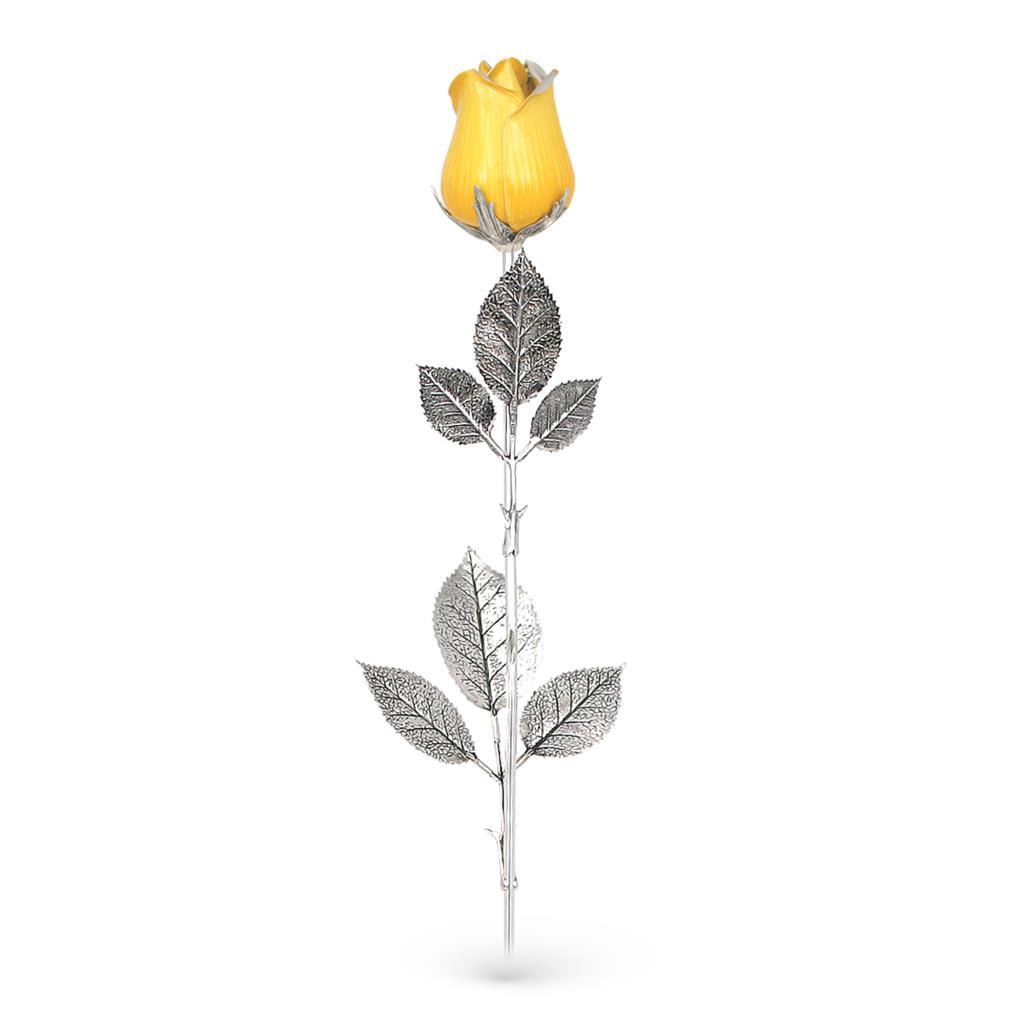 Rosa gialla soprammobile in argento e smalto 48cm - GI.RO'ART