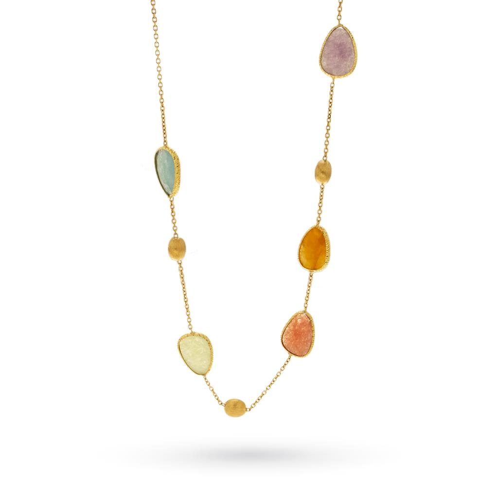 18kt yellow gold necklace with colored stones - CICALA