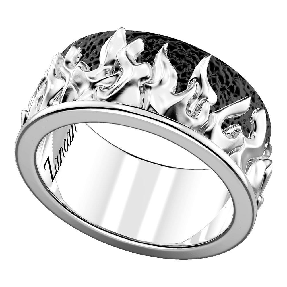 Anello da uomo in argento con motivo a fiamme - ZANCAN