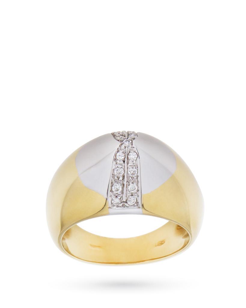 Anello in oro giallo con piramide di oro bianco e diamanti 0,19ct H VS - UNBRANDED