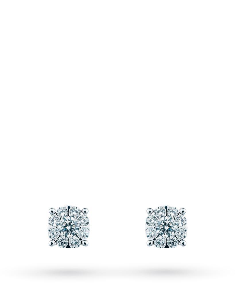 Orecchini a lobo multipietra in oro bianco con diamanti ct 0,23 G VS - MIRCO VISCONTI