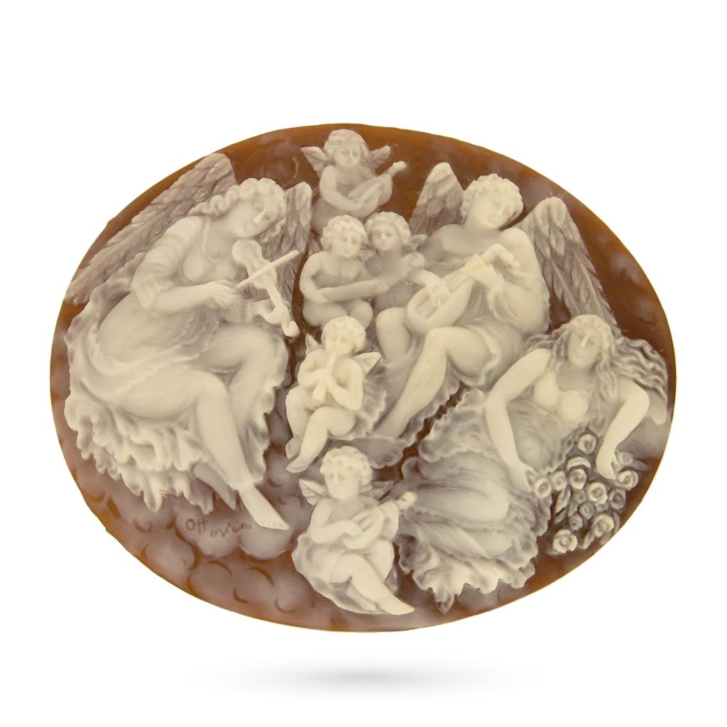 Artistic craftmade cameo of nymphs and cherubs to be set  - CAMEO ITALIANO