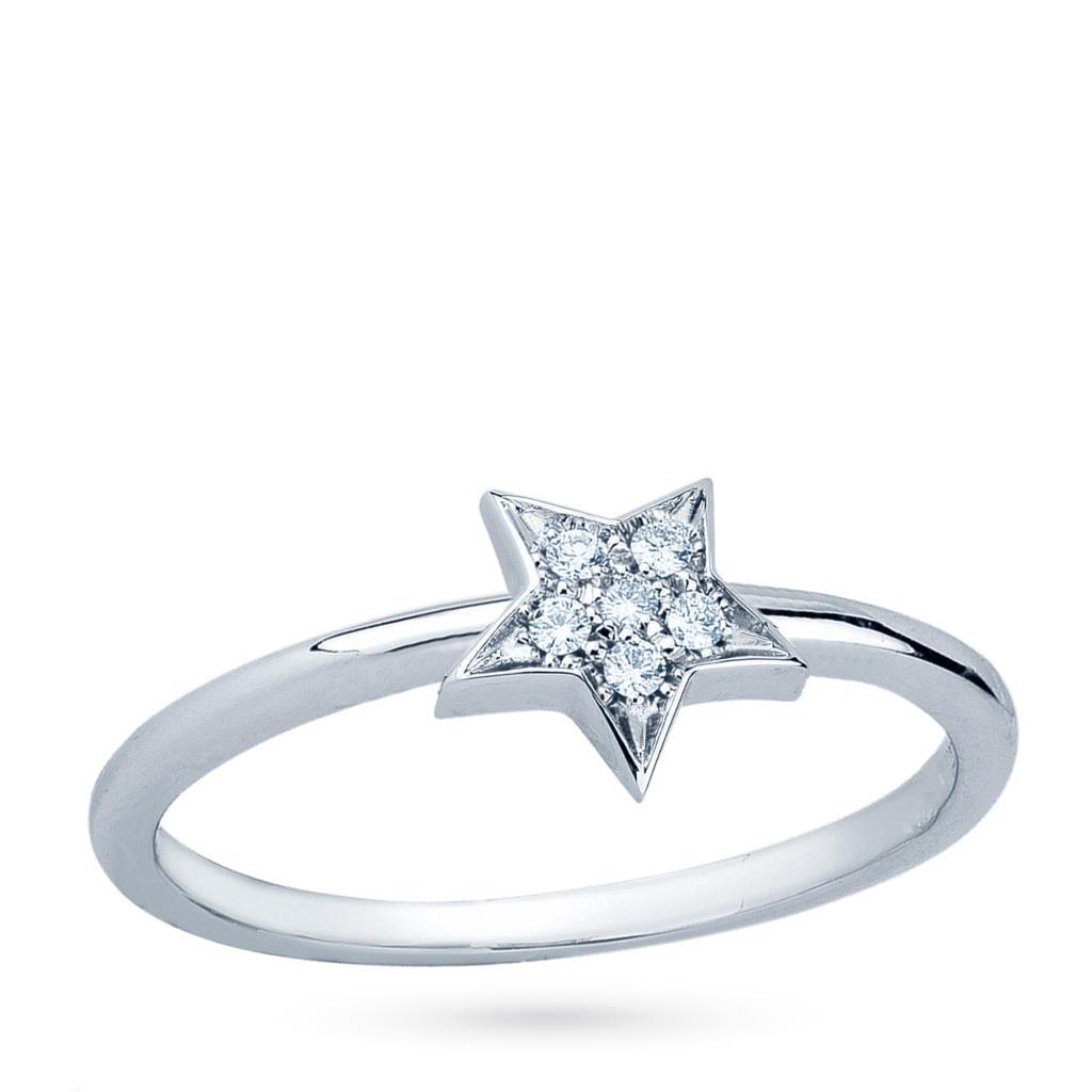 Anello in oro bianco con stella e diamanti - MIRCO VISCONTI