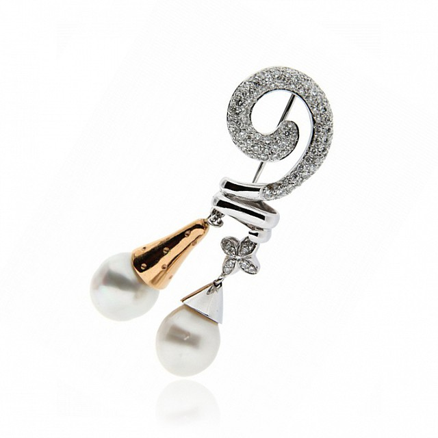 Spilla in oro con diamanti e perle - LA NOUVELLE BAGUE