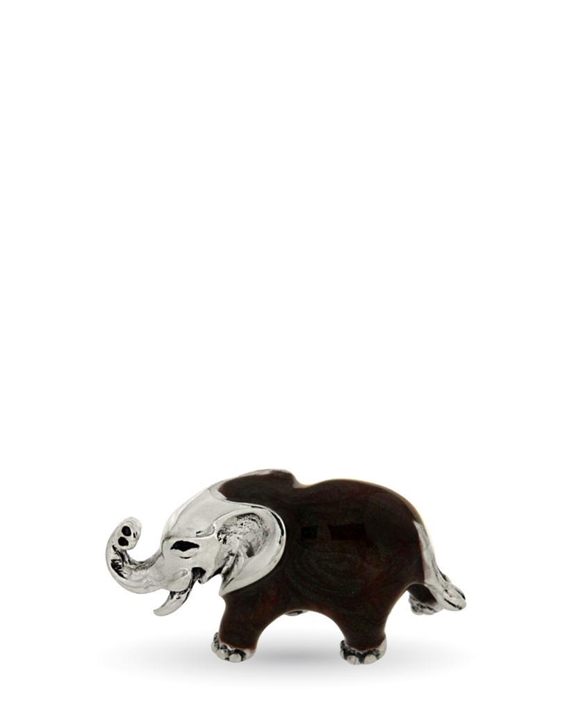 Elefantino piccolo soprammobile in argento e smalto - SATURNO