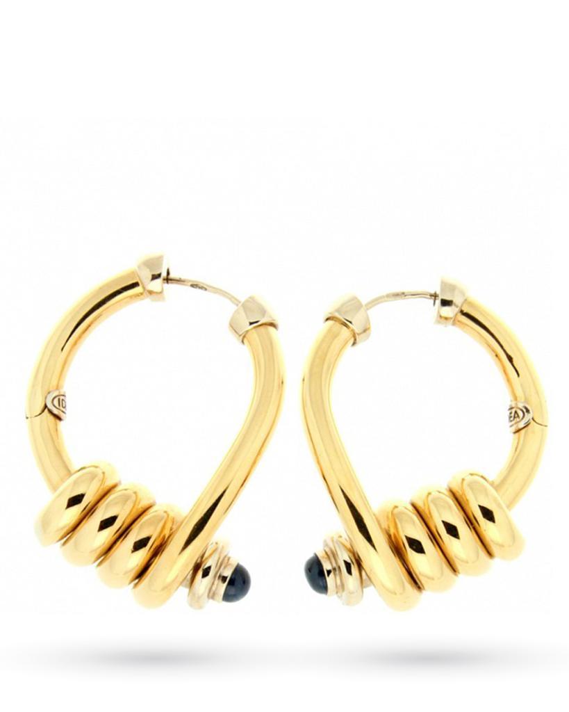 Orecchini pendenti in oro a spirale con zaffiri - CICALA