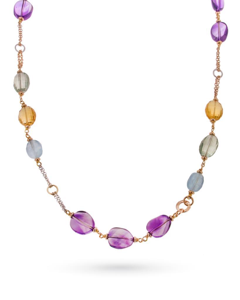 Collana con gemme preziose in oro bianco e rosa - SILVIA KELLY