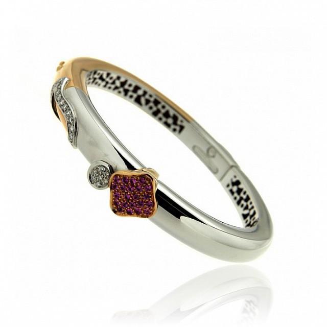 Bracciale in oro a schiava con diamanti e zaffiri - LA NOUVELLE BAGUE