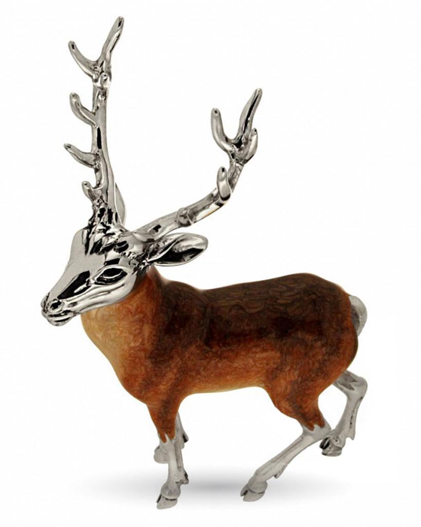Cervo grande soprammobile in argento e smalto  - SATURNO
