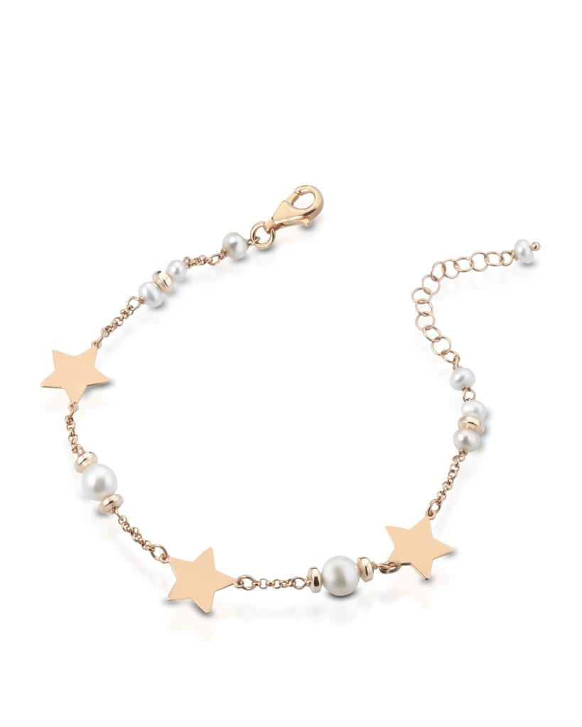 925 sterling silver bracelet with Fresh water pearls and golden stars  - LELUNE