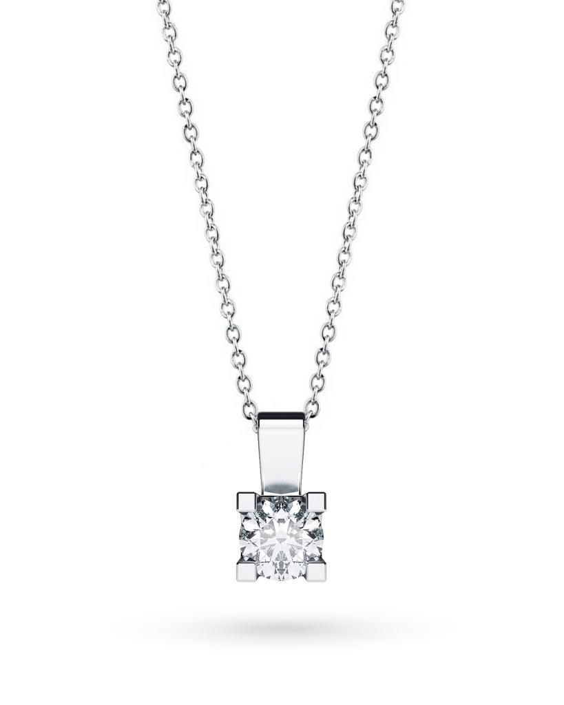 Girocollo punto luce in oro bianco con diamante D VS 0,50ct - CICALA