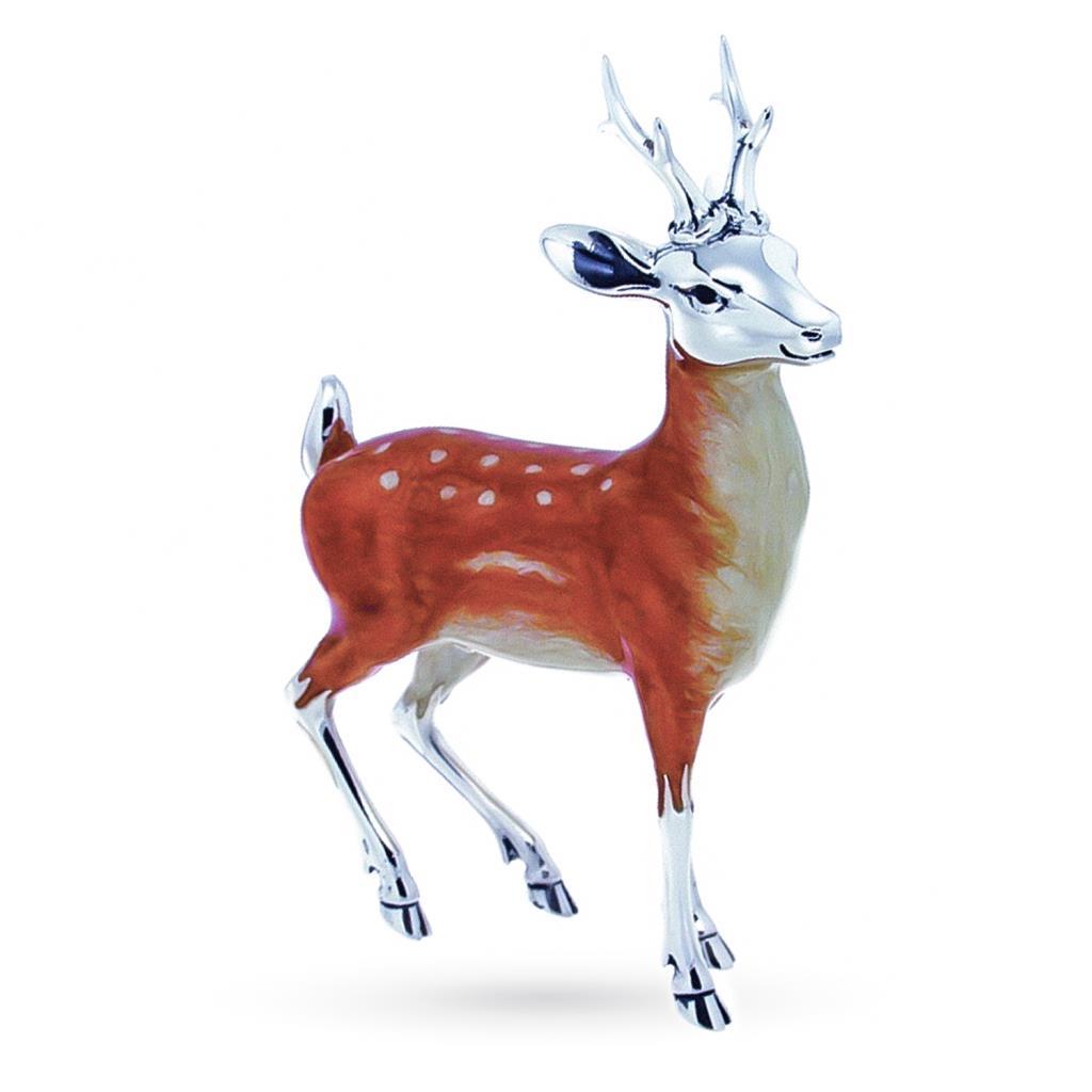 Cervo adulto soprammobile in argento e smalto - SATURNO
