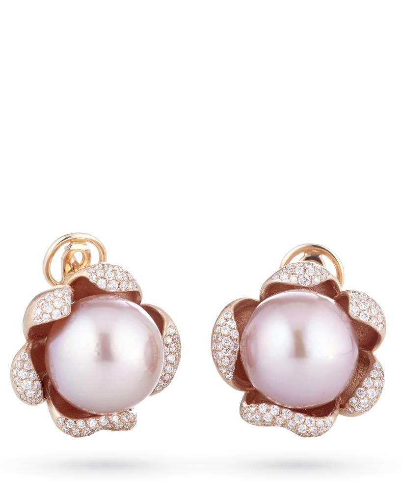 Orecchini con perle rosa in oro con diamanti - COSCIA