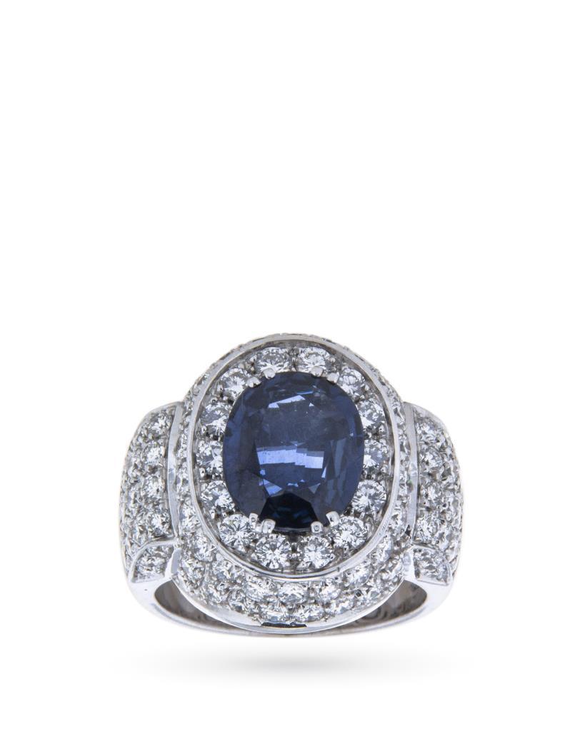 Anello in oro con zaffiro blu e diamanti - CICALA