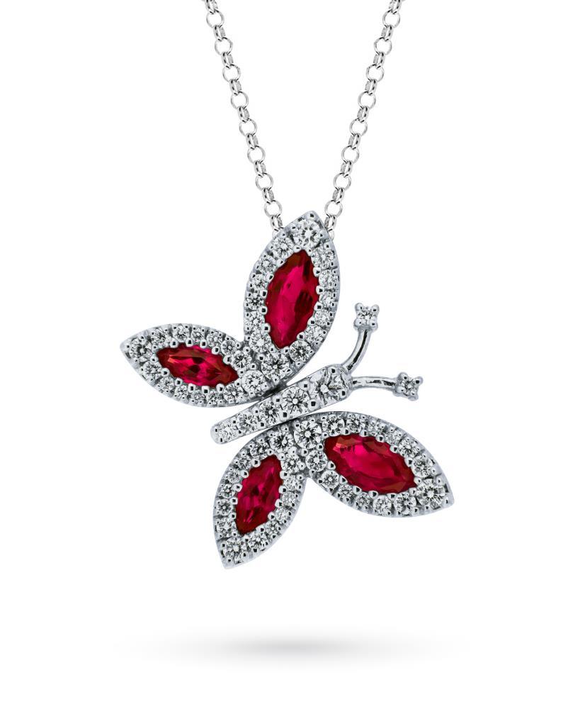 Girocollo in oro bianco con farfalla di rubini e diamanti - MIRCO VISCONTI