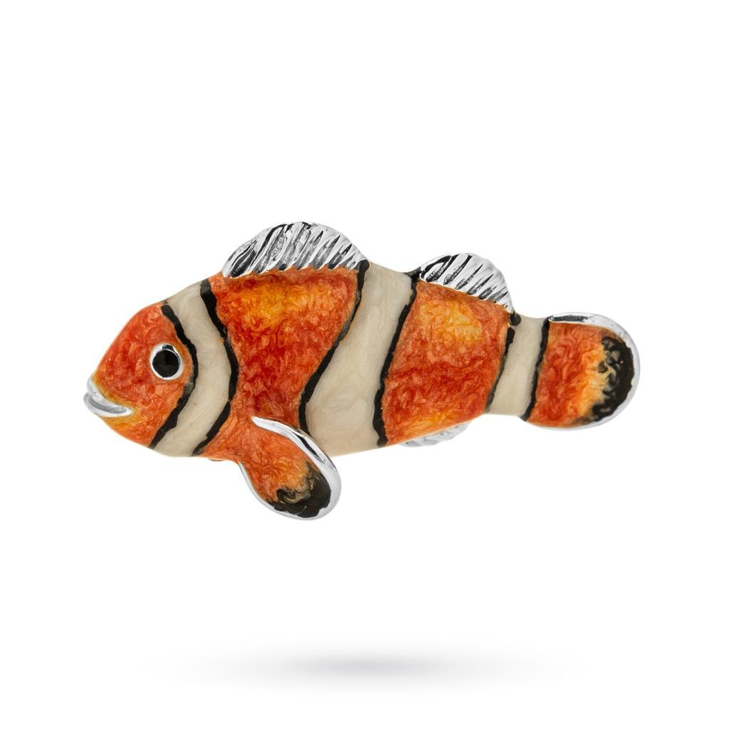 Pesce pagliaccio medio soprammobile in argento e smalto - SATURNO