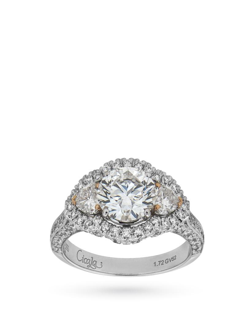 Anello di fidanzamento in oro bianco con brillante 1,72ct e cuori 0,50ct - CICALA