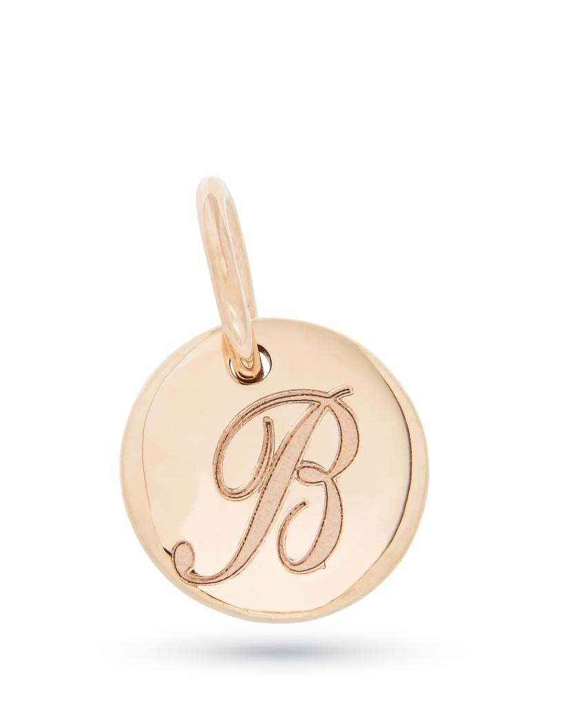 Ciondolo in oro rosa con disco lucido e lettera B in corsivo - ORO TREND