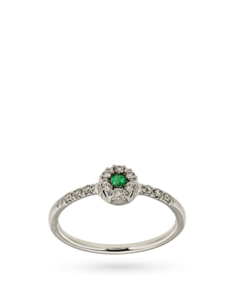 Anello in oro bianco con smeraldo e fiore di diamanti - CICALA