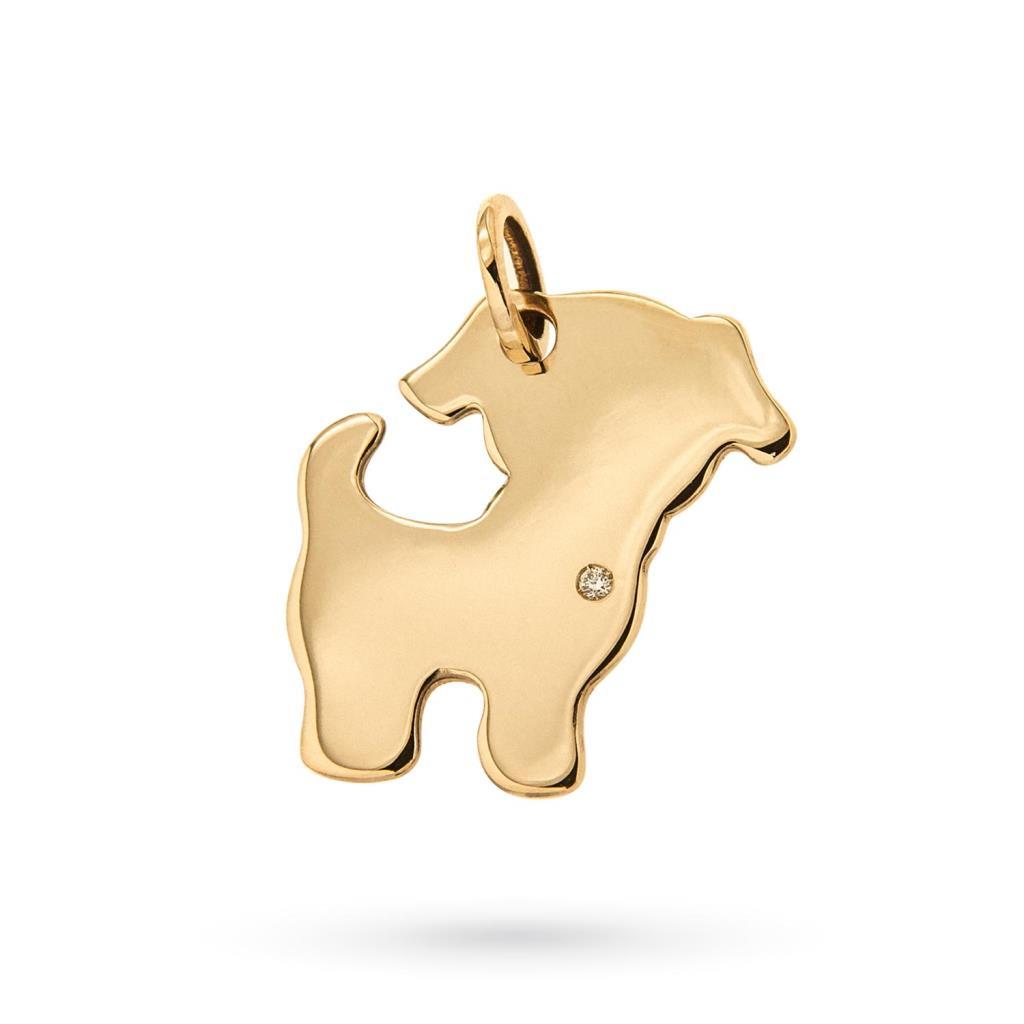 Ciondolo cagnolino oro giallo con diamante su cuore - CICALA