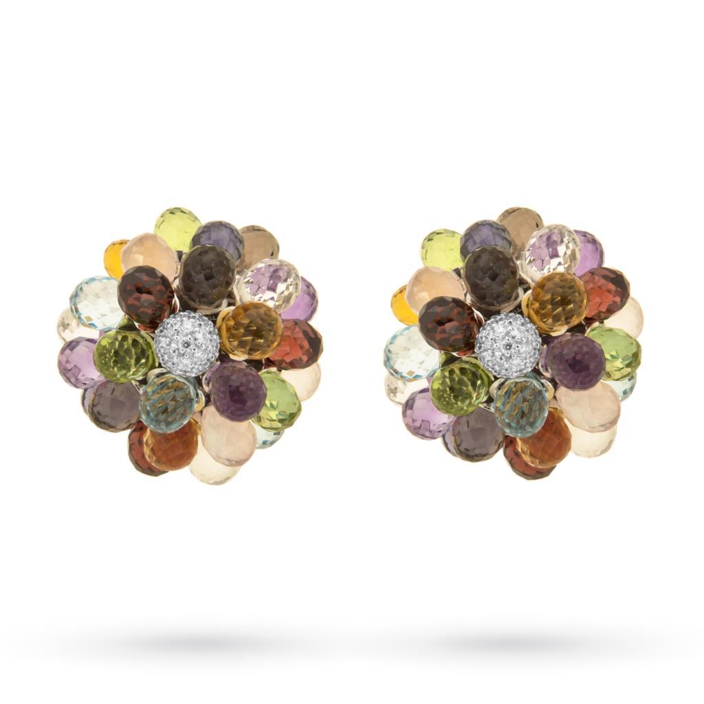 Orecchini a fiore con petali di topazi multicolor e diamanti - ORO TREND