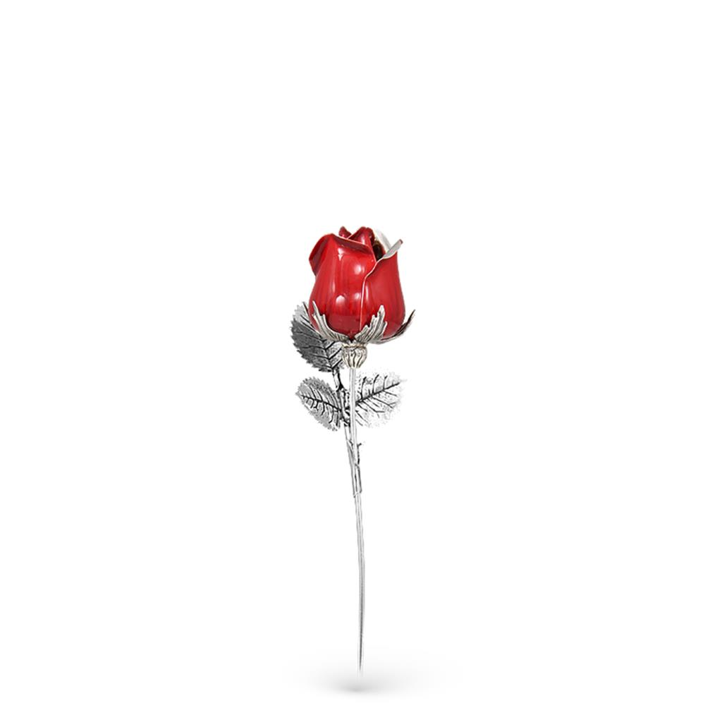 Red rose ornament in sterling silver and enamel S size 13cm - GI.RO'ART