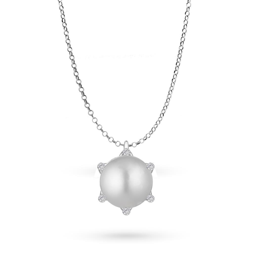 Girocollo con perla pendente in oro bianco e diamanti - COSCIA
