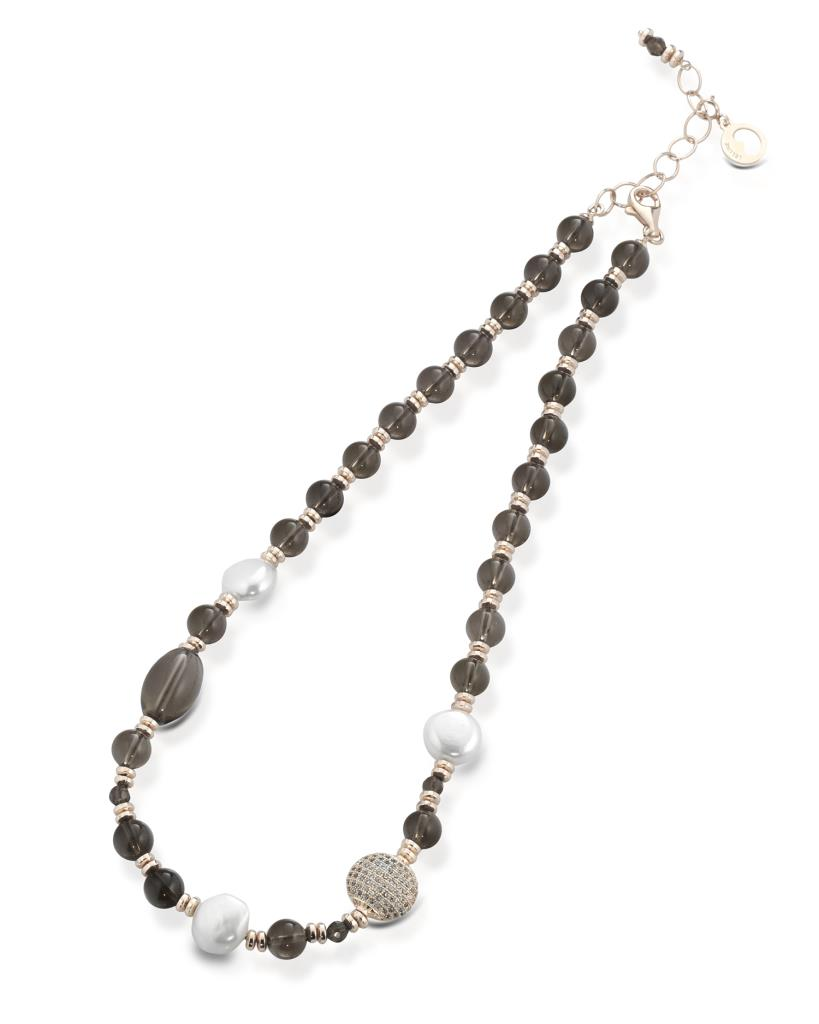 Brown quartz necklace with 3 white pearls and zirconia  - LELUNE